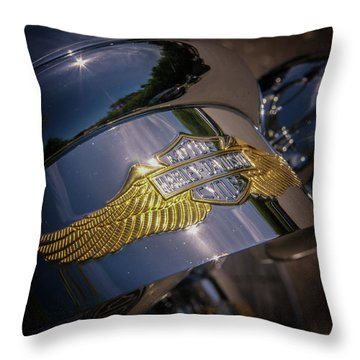 Throw Pillow featuring the photograph Harley Davidson Badge by Samuel M Purvis III