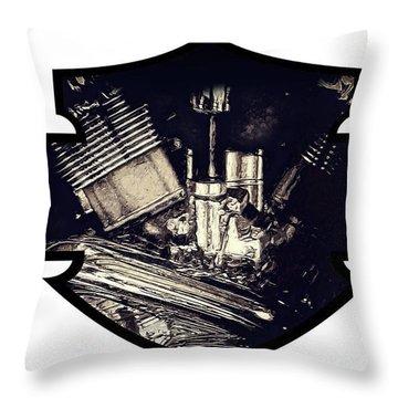 Harley Davidson Engine Throw Pillow