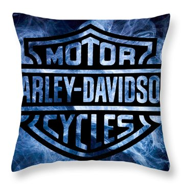 Harley Davidson Logo Blue Throw Pillow