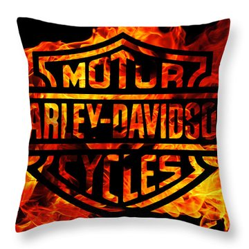 Harley Davidson Logo Flames Throw Pillow by Randy Steele