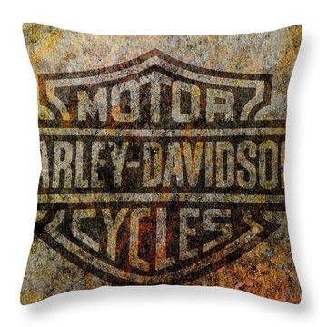 Harley Davidson Logo Grunge Metal Throw Pillow
