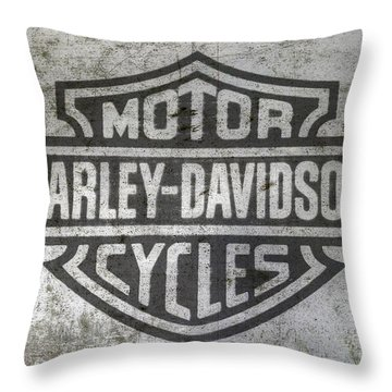 Harley Davidson Logo On Metal Throw Pillow