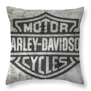 Harley Davidson Logo On Metal Throw Pillow