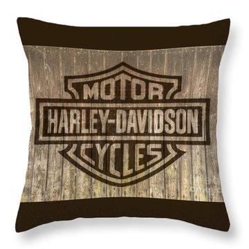 Harley Davidson Logo On Wood Throw Pillow