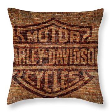 Harley Davidson Logo Red Brick Wall Throw Pillow
