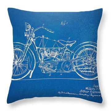 Harley-davidson Motorcycle 1928 Patent Artwork Throw Pillow by Nikki Marie Smith