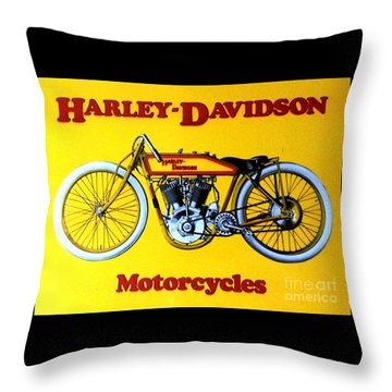 Harley - Davidson  Poster Throw Pillow by Pg Reproductions