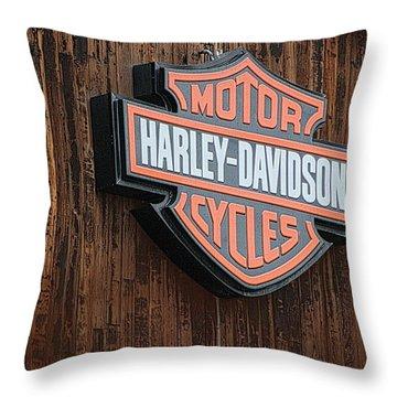 Harley Davidson Sign In West Jordan Utah Photograph Throw Pillow
