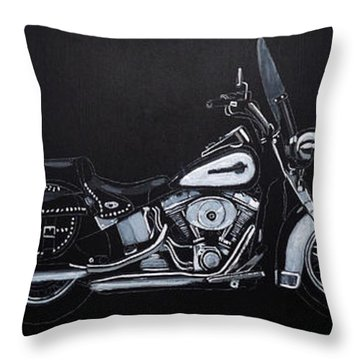 Throw Pillow featuring the painting Harley Davidson Snap-on by Richard Le Page