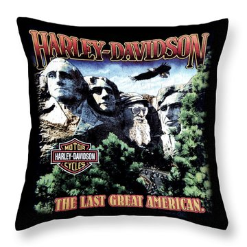 Harley Davidson The Last Great American Throw Pillow
