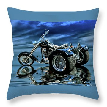 Harley Heritage Soft Tail Trike Throw Pillow by Steven Agius