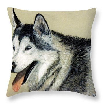 Throw Pillow featuring the pastel Harley by Jan Amiss