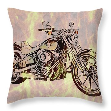 Throw Pillow featuring the mixed media Harley Motorcycle On Flames by Dan Sproul