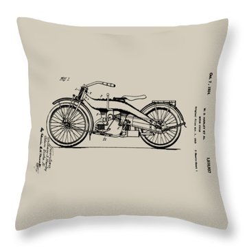 Harley Motorcycle Patent Throw Pillow by Bill Cannon
