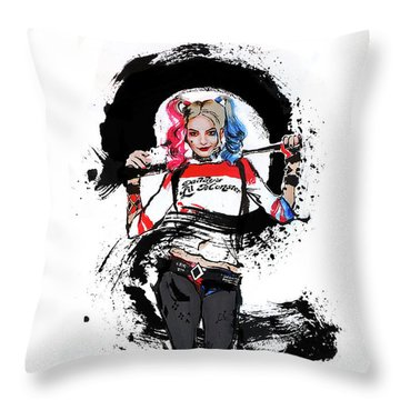 Harley Quinn Throw Pillow by Haze Long