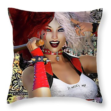 Throw Pillow featuring the digital art It Wasn't Me by Shanina Conway