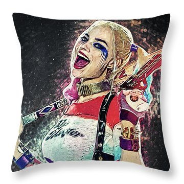 Harley Quinn Throw Pillow by Taylan Apukovska