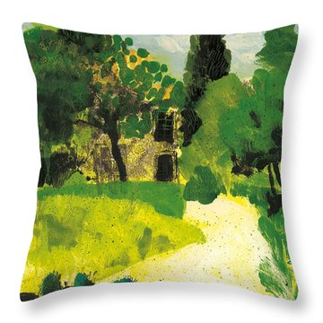 Throw Pillow featuring the painting Harmas Henri Fabre Provence Garden by Martin Stankewitz