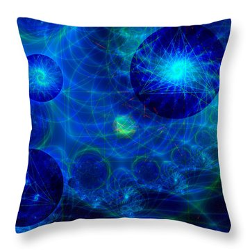 Throw Pillow featuring the digital art Harmonic Galaxies by Fran Riley