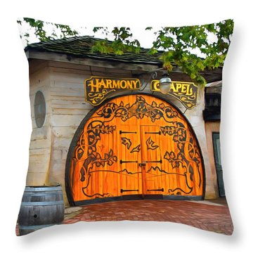 Throw Pillow featuring the photograph Harmony Chapel Harmony California by Barbara Snyder