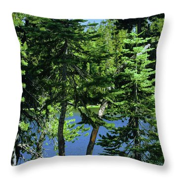 Harmony In Green And Blue - Manzanita Lake - Lassen Volcanic National Park Ca Throw Pillow by Christine Till