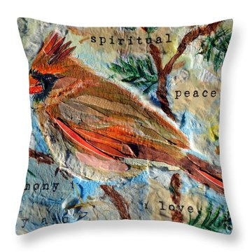 Throw Pillow featuring the mixed media Harmony by Li Newton