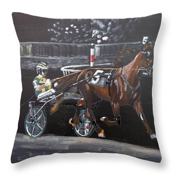 Throw Pillow featuring the painting Harness Racing by Richard Le Page