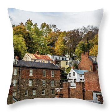Throw Pillow featuring the photograph Harpers Ferry In Autumn by Ed Clark