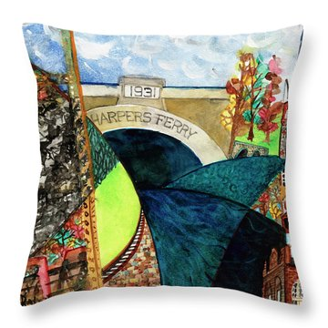 Harpers Ferry Rivers, Railroads, Revolvers Throw Pillow