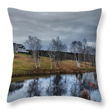 Harpswell Birches 14399 Throw Pillow by Guy Whiteley