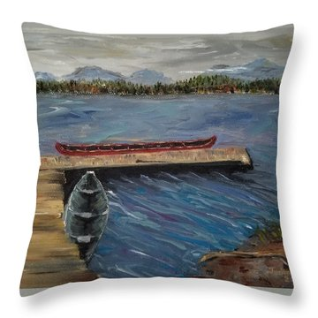 Throw Pillow featuring the painting Harriet Hunt Lake, Ketchikan, Alaska by Judith Rhue