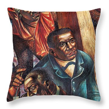 Harriet Tubman, Booker Washington Throw Pillow by Photo Researchers