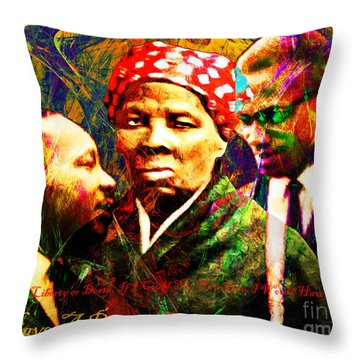 Harriet Tubman Martin Luther King Jr Malcolm X 20160421 Text Throw Pillow
