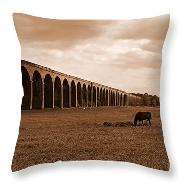 Harringworth Viaduct And Horses Grazing Throw Pillow by Louise Heusinkveld