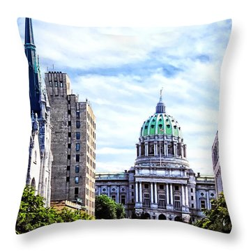 Harrisburg Pa - Capitol Building Seen From State Street Throw Pillow