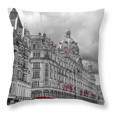 Harrods Of Knightsbridge Bw Hdr Throw Pillow