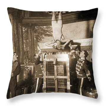 Harry Houdini Suspended Above A Tank Of Water  Throw Pillow