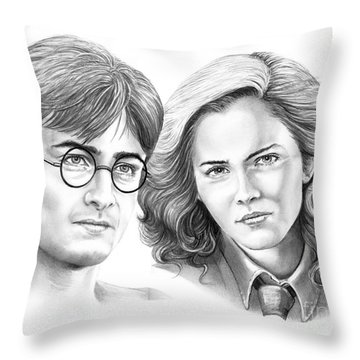 Harry Potter And Hermione Throw Pillow by Murphy Elliott