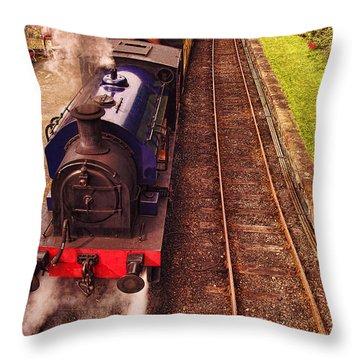 Harry Potters Haverthwaite Railway Station Throw Pillow by Graham Hawcroft pixsellpix