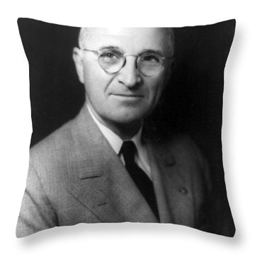 Throw Pillow featuring the photograph Harry S Truman - President Of The United States Of America by International  Images
