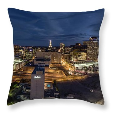 Throw Pillow featuring the photograph Hartford Ct Night Panorama by Petr Hejl
