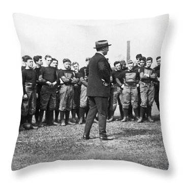Harvard Football Practice Throw Pillow by Underwood Archives