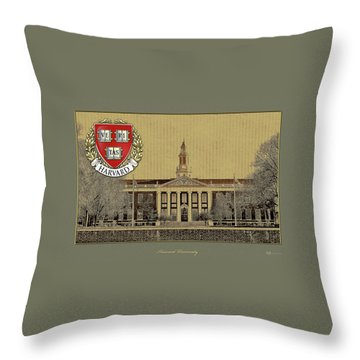 Harvard University Building Overlaid With 3d Coat Of Arms Throw Pillow