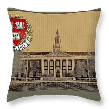 Harvard University Building With Seal Throw Pillow