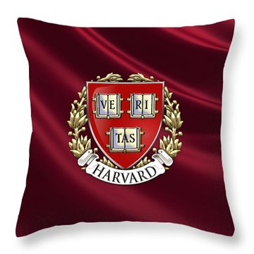 Harvard University Seal Over Colors Throw Pillow by Serge Averbukh