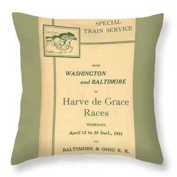 Harve De Grace Races Throw Pillow
