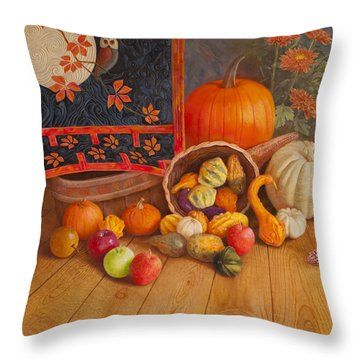 Throw Pillow featuring the painting Harvest Bounty by Nancy Lee Moran