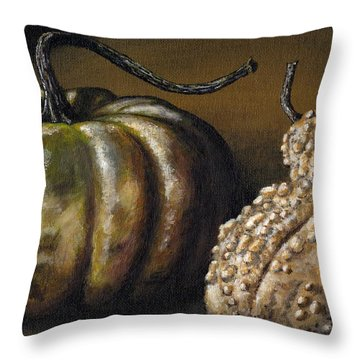 Harvest Gourds Throw Pillow by Adam Zebediah Joseph