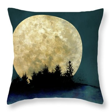 Harvest Moon And Tree Silhouettes Throw Pillow