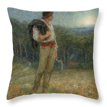 Harvest Moon Throw Pillow by Helen Allingham